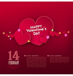Red hearts with bright highlights vector image vector image