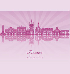 Rosario skyline in purple radiant orchid vector