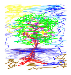 sakura deciduous tree pond in the sky doodle vector image