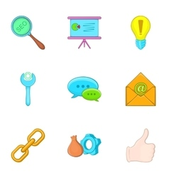 Seo icons set cartoon style vector