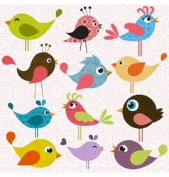 Set of patterned birds vector image
