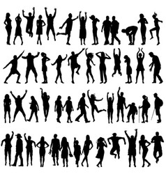 Silhouettes of women and men vector