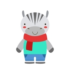 Smiling zebra in red scarf and blue outfit cute vector