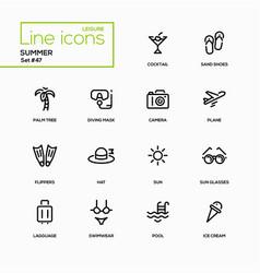 Summer concept - line design icons set vector