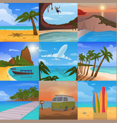 Summer time vacation nature tropical beach vector