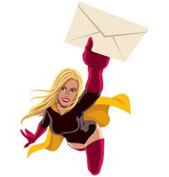 Superheroine flying envelope vector