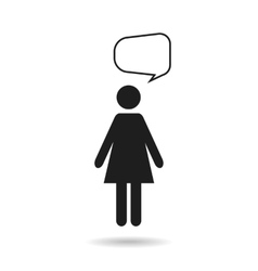 woman black icon and speech bubble vector image