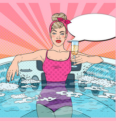 woman drinking champagne in jacuzzi pop art vector image vector image