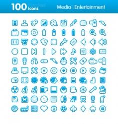 100 icons multimedia vector image vector image