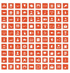 100 writer icons set grunge orange vector