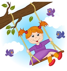 Girl on swing on tree branch vector