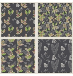 Scandinavian floral pattern set vector