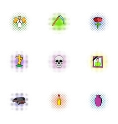 Death icons set pop-art style vector