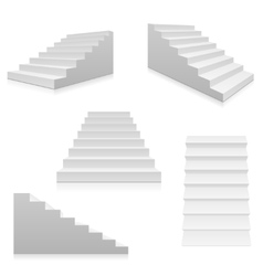 White stairs 3d interior staircases isolated vector image