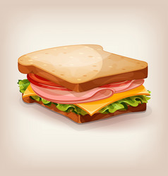 delicious ham and vegetable sandwich vector image