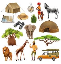 safari set icon set vector image