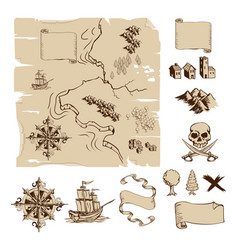 Make your own fantasy or treasure maps vector