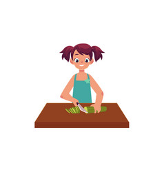 Little girl cooking cutting cucumber for salad vector