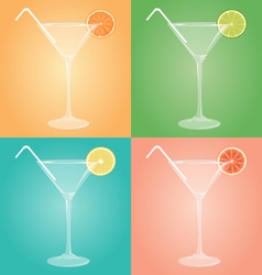 Empty glasses for martini with citrus and plastic vector