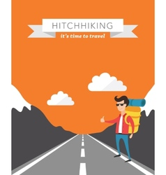 Hitchhiking flat background vector