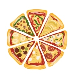 Pieces of pizza sketch for your design vector