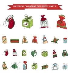 Set of different christmas gift boxes isolated on vector