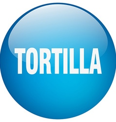 Tortilla blue round gel isolated push button vector