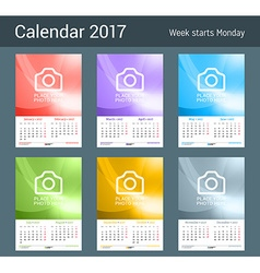 Wall monthly calendar for 2017 year 2 months on vector