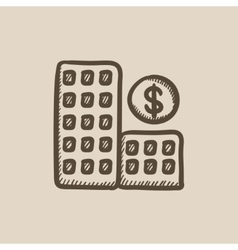 Condominium with dollar symbol sketch icon vector
