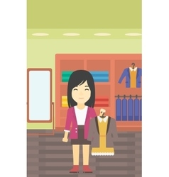 Woman holding dress with jacket vector