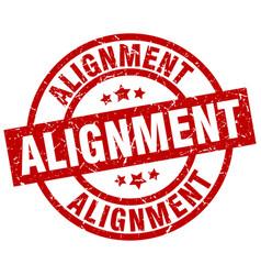 Alignment round red grunge stamp vector