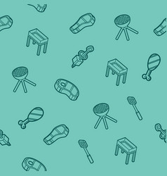 bbq outline isometric pattern vector image