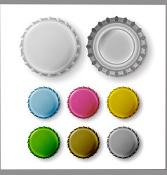 Beer cap colorful bottle caps mock up vector