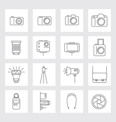 Camera photography linear icons set vector