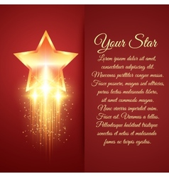 Card with glowing golden star vector image vector image