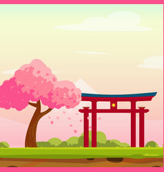 Cartoon spring japan with traditional portal vector