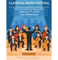 Classical music festival flat poster vector