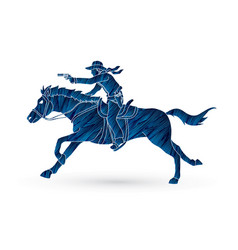 cowboy riding horseaiming gun vector image vector image