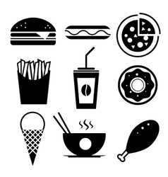 Fast food icon set burger ice cream vector