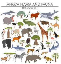 flat africa flora and fauna map constructor vector image