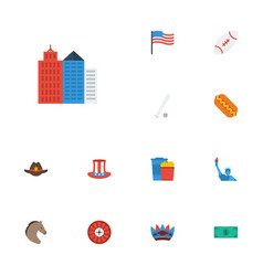 flat icons america sausage metropolis and other vector image vector image