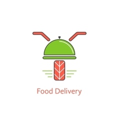 Food delivery with motor scooter and dish vector