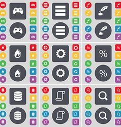 Gamepad Apps Ink pen Fire Gear Percent Database vector image vector image