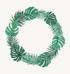 green summer tropical leaves border frame wreath vector image