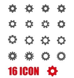 grey gear icon set vector image vector image