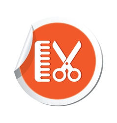 hairdressing salon icon orange sticker vector image vector image