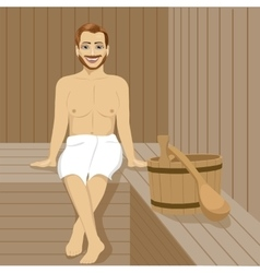 Handsome man having sauna bath in steam room vector image vector image
