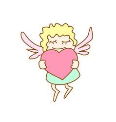 Little cartoon flying girl with heart vector