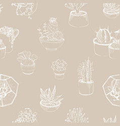 modern seamless pattern with succulent outlines vector image vector image