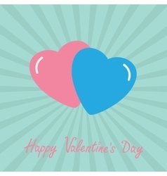 Pink and blue hearts Happy Valentines Day card vector image